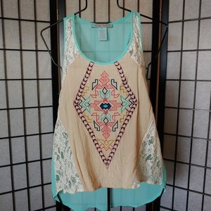 Flying Tomato sheer lace tank.